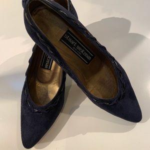 Stuart Weitzman 7M blue suede tasseled heel